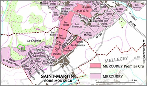 Carte appellation mercurey blanc